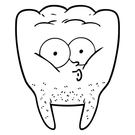 Black and white cartoon whistling tooth Illustration