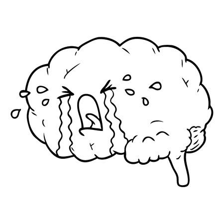 Cartoon brain crying