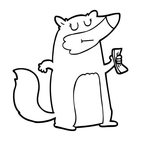 Black and white cartoon badger holding cash