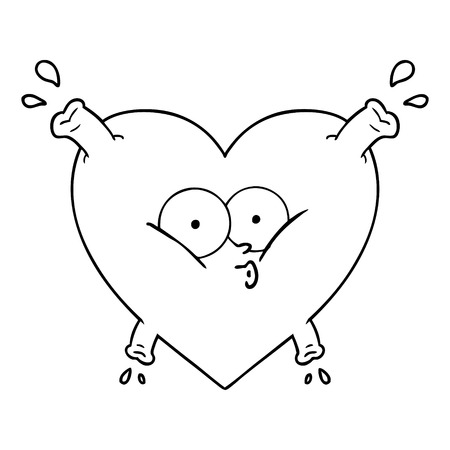 cartoon heart surprised icon 向量圖像