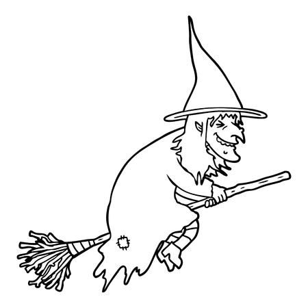 Black and white cartoon witch on broom Çizim