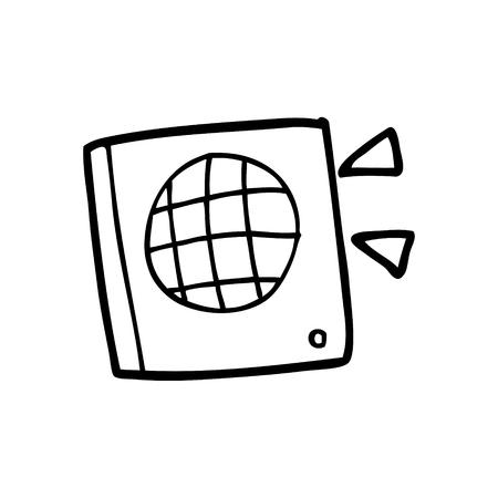 Black and white cartoon speaker