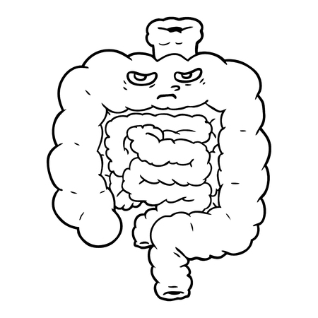 Black and white cartoon intestines Ilustração