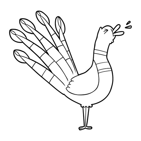 cartoon crowing peacock