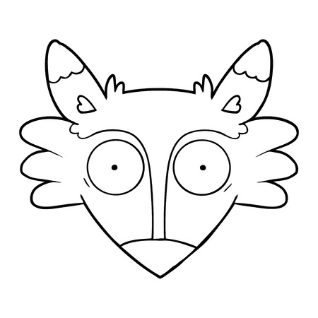 Cartoon startled fox in black and white illustration. 向量圖像