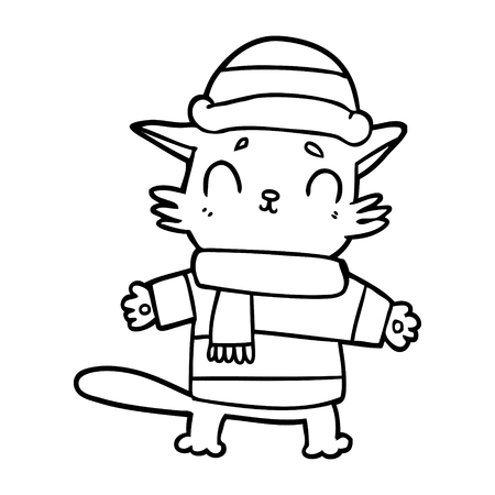 cartoon cat in winter clothes Illustration