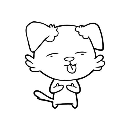 혀를 내밀고있는 만화 개 일러스트