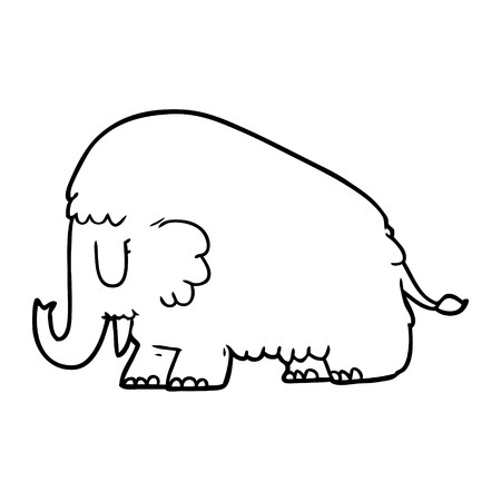 cartoon mammoth illustration Ilustrace