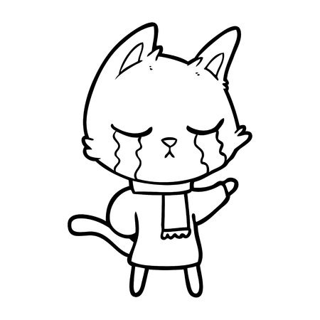 crying cartoon cat wearing winter clothes