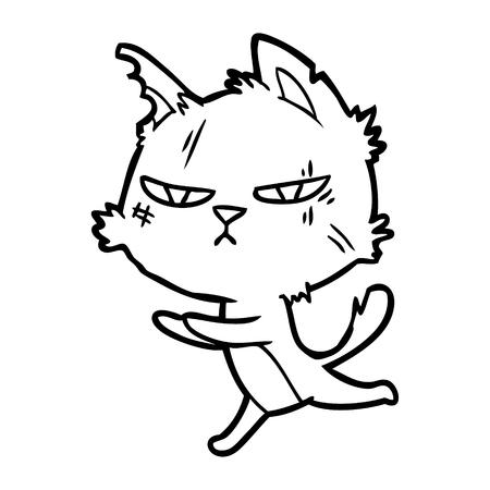 거친 만화 고양이 실행 일러스트