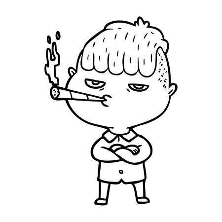 cartoon man smoking