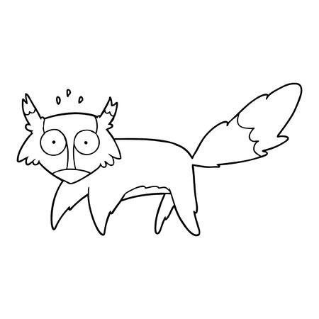 cartoon geschrokken vos Stock Illustratie