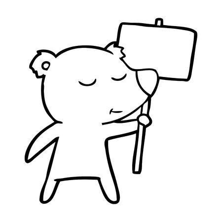 happy cartoon polar bear with sign 向量圖像
