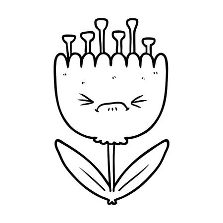 cartoon angry flower