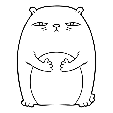 cartoon tired annoyed bear