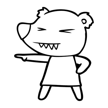 pointing bear cartoon Illustration