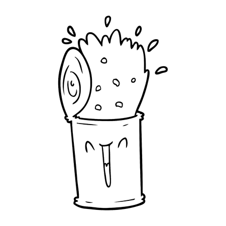 cartoon happy exploding soup can Ilustração