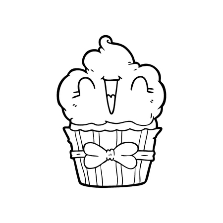 happy cartoon cupcake