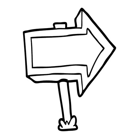 cartoon pointing arrow sign