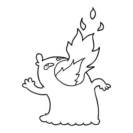cartoon fire breathing ghost  イラスト・ベクター素材