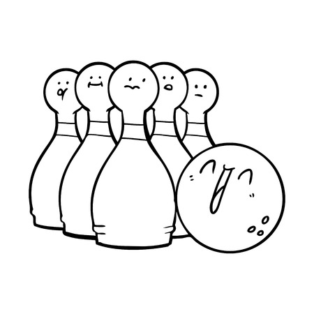 cartoon laughing bowling ball and pins Ilustracja