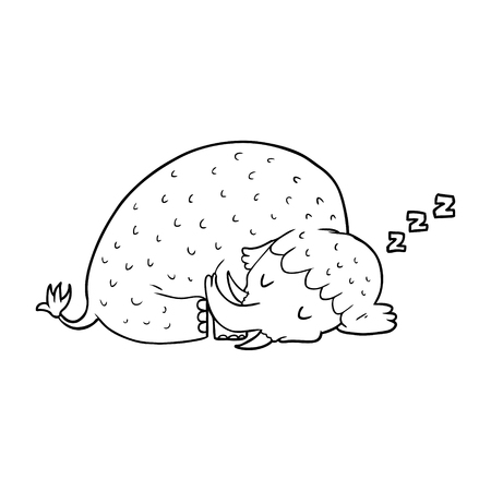 cartoon mammoth sleeping