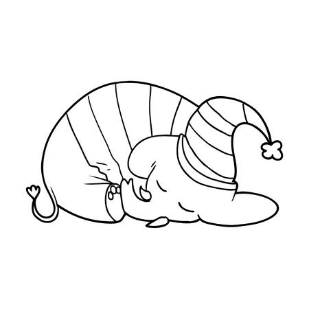 cartoon slapende olifant in pyjama Stock Illustratie