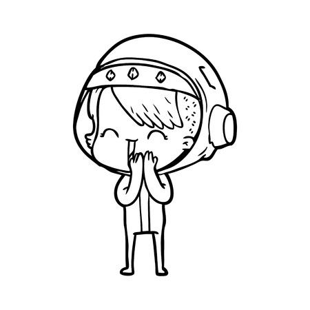 giggling cartoon space girl Illustration