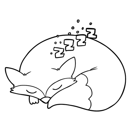 cartoon sleeping fox Çizim