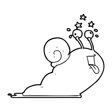 crazy cartoon snail Ilustrace