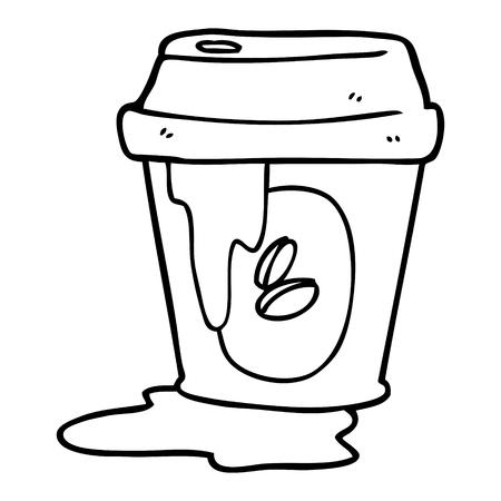 messy coffee cup cartoon