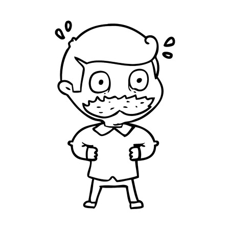 Black and white cartoon man with mustache shocked Illustration