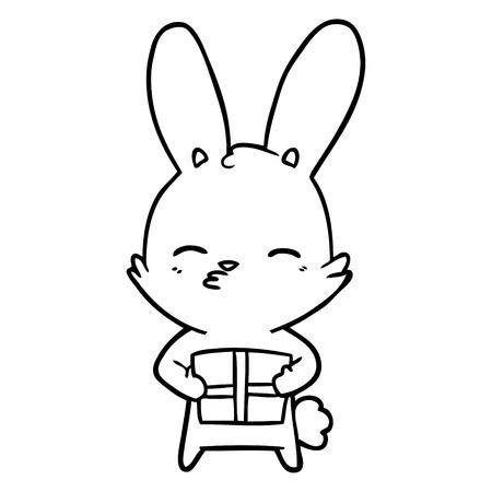 Neugierige Häschenschwarzweiss-karikatur mit Geschenk Standard-Bild - 94925057