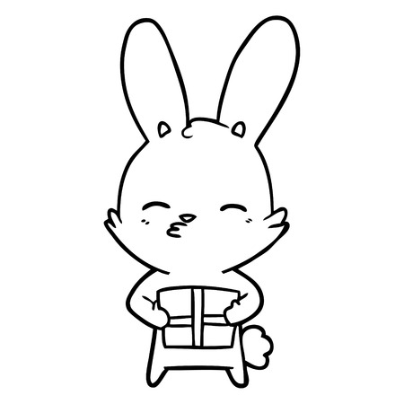 Black and white curious bunny cartoon with present