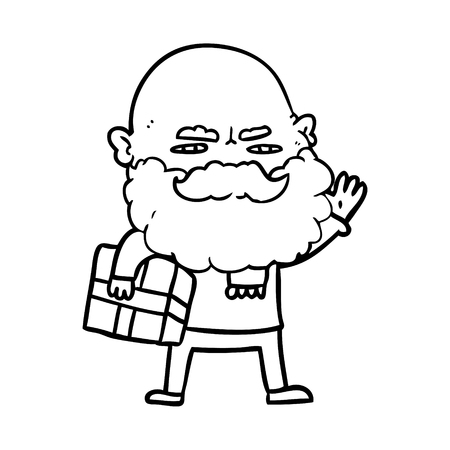 Black and white cartoon man with beard frowning with xmas gift Иллюстрация