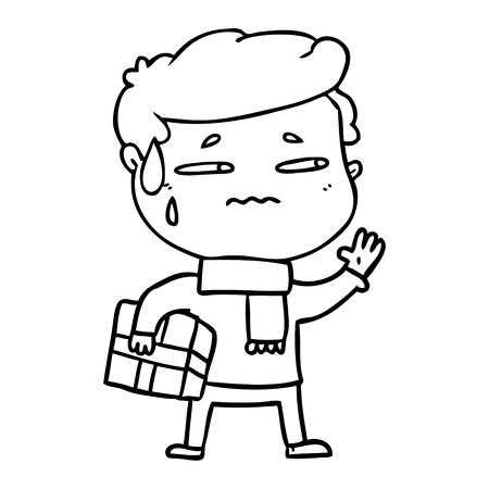 Homem ansioso de desenhos animados com presente de Natal Foto de archivo - 94848454