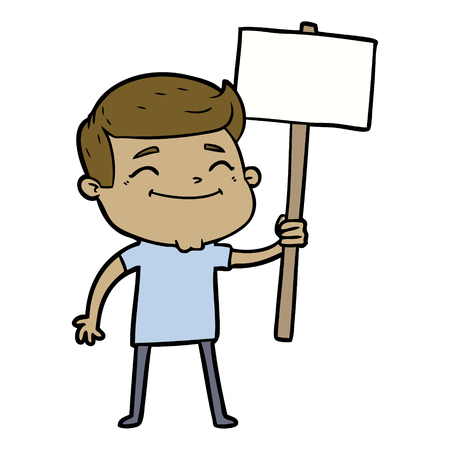 Happy cartoon man with placard Illustration