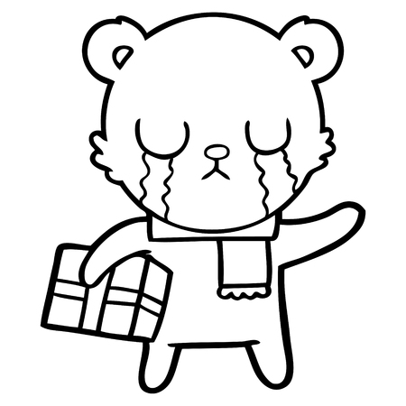 Black and white crying polar bear cartoon with christmas gift Illustration