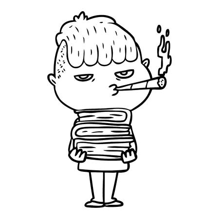 Black and white cartoon man smoking