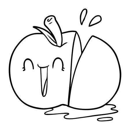 happy cartoon sliced apple Ilustração