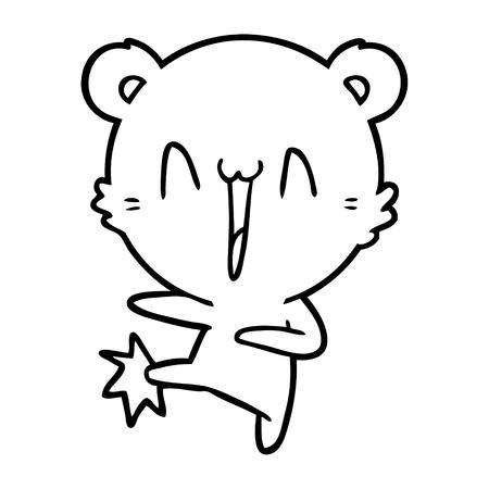 happy bear kicking cartoon