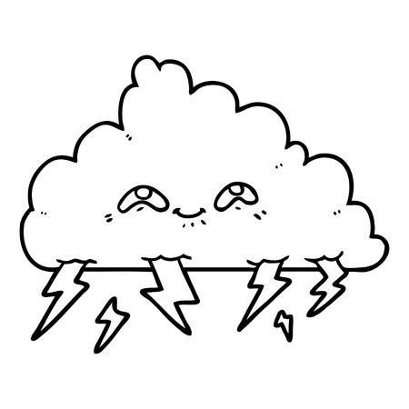Black and white cartoon thundercloud