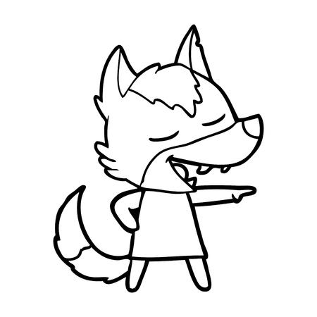 cartoon wolf laughing Illustration