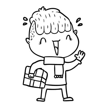 漫画の幸せな少年は驚いた