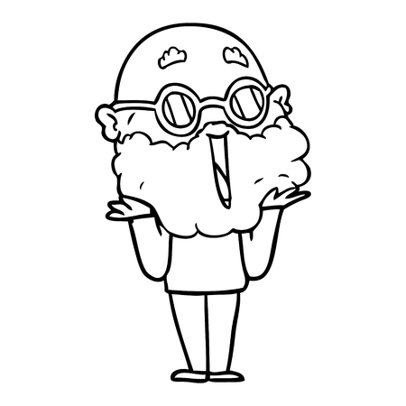 cartoon vrolijke man met baard schouderophalend