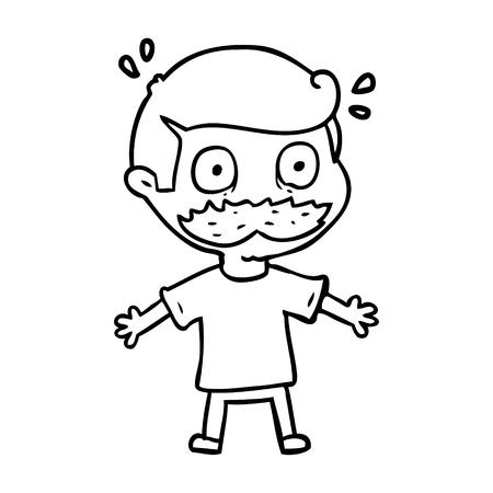 口ひげを持つ漫画の男はショックを受けた  イラスト・ベクター素材