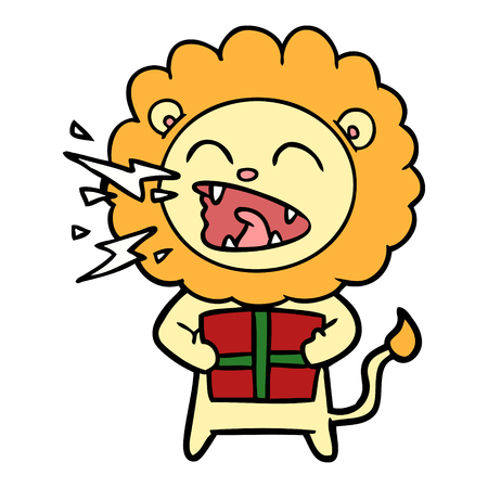 cartoon roaring lion with gift Illustration