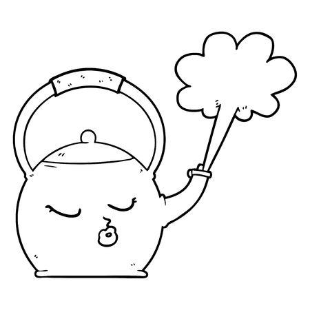 cartoon boiling kettle  イラスト・ベクター素材