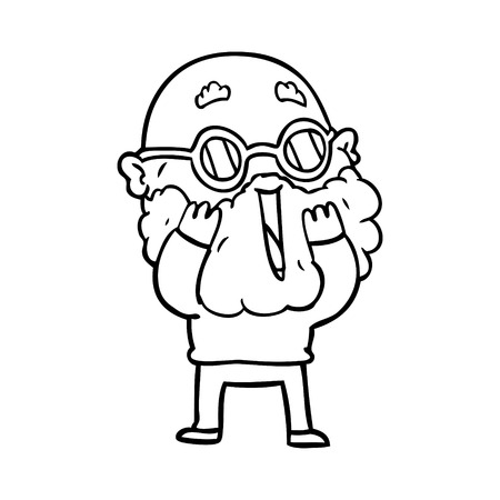 Black and white cartoon amazed man with beard