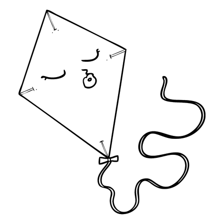 A cartoon of a kite on white background.
